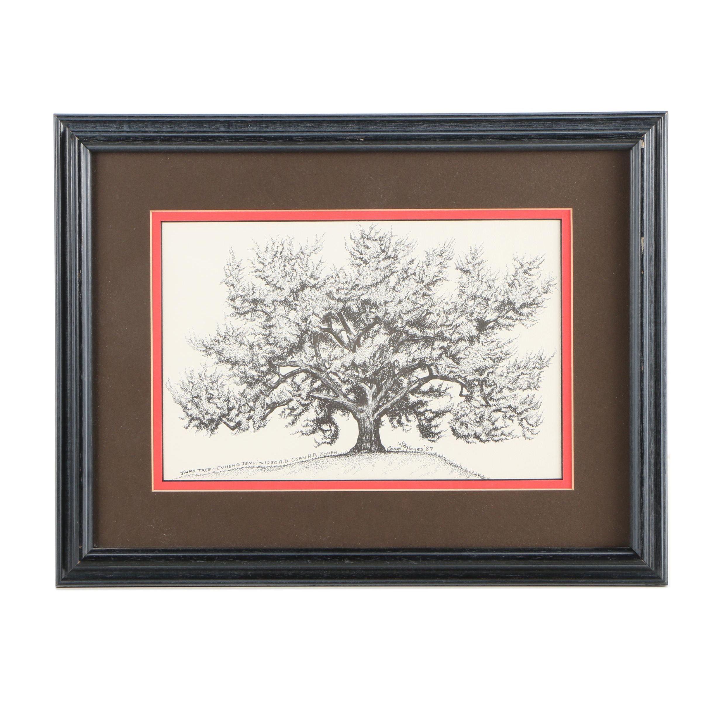 1987 Lithograph After Carol Hayes of Historic Osan Gingko Tree