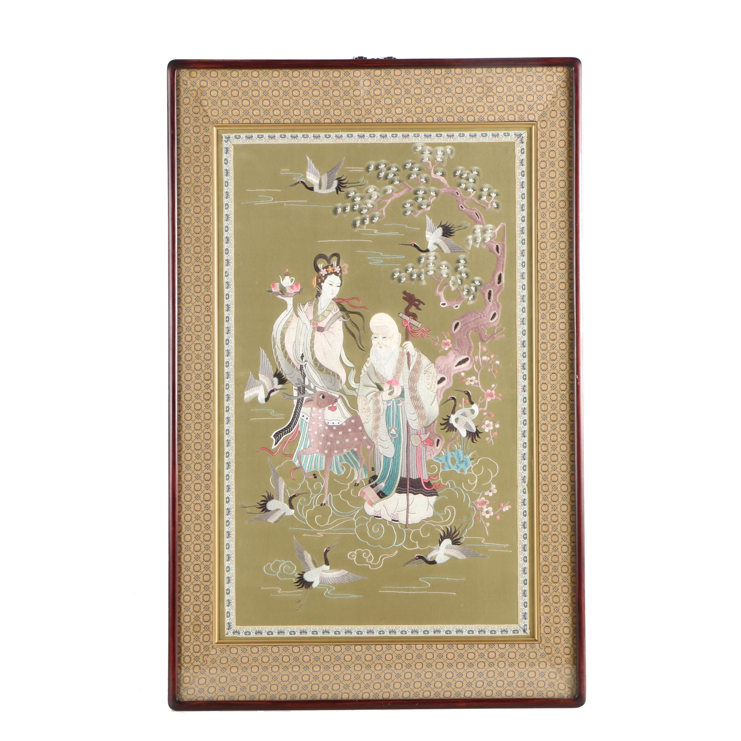 Chinese Embroidery of Magu and Shou