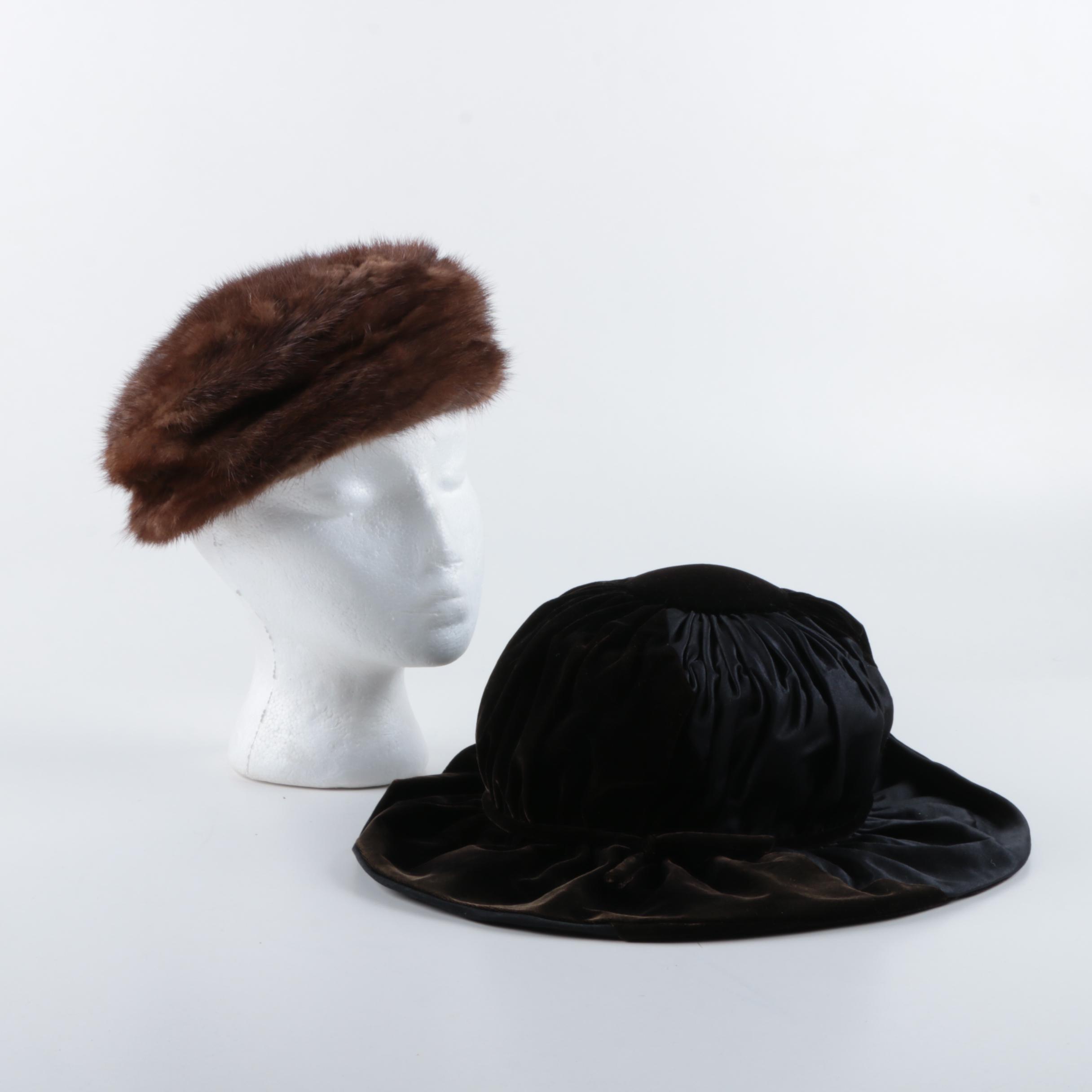 Vintage Gus Meyer Mink Fur Hat and Ruched Velvet Hat Saks Fifth Avenue Millinery