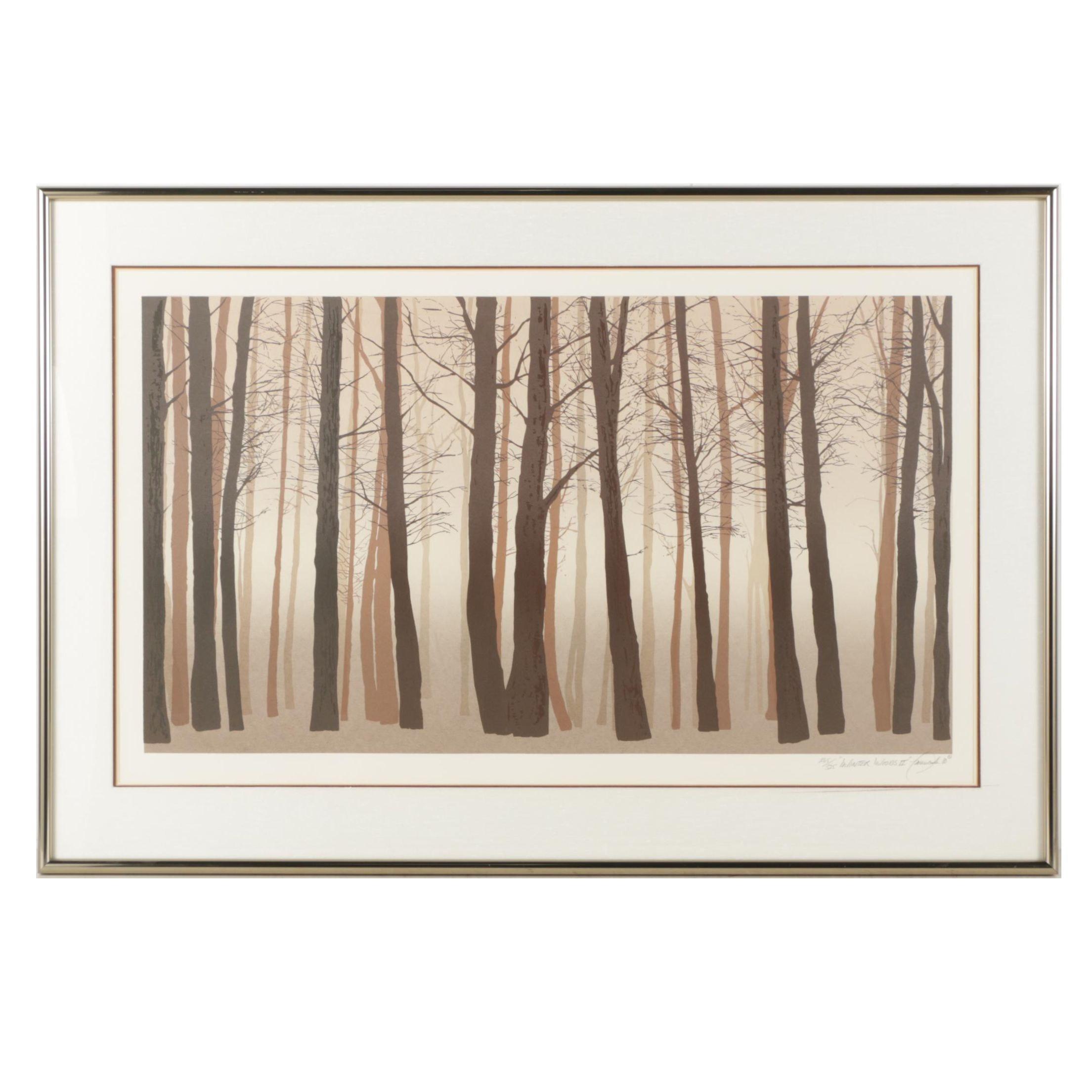 "William Omurcada 1980 Color Lithograph ""Winter Woods II"""