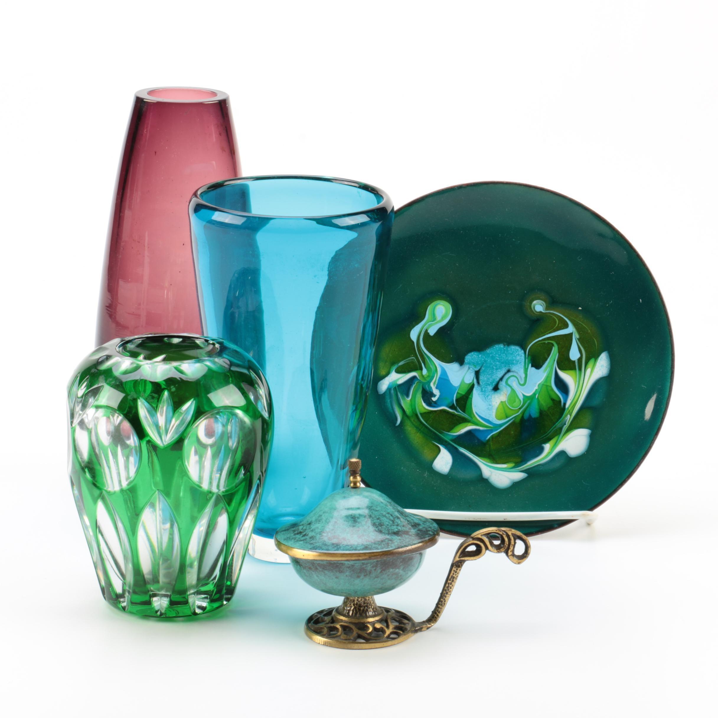 Glass Vases, Mid Century Oppenheim Enameled Bowl and Glass Plate