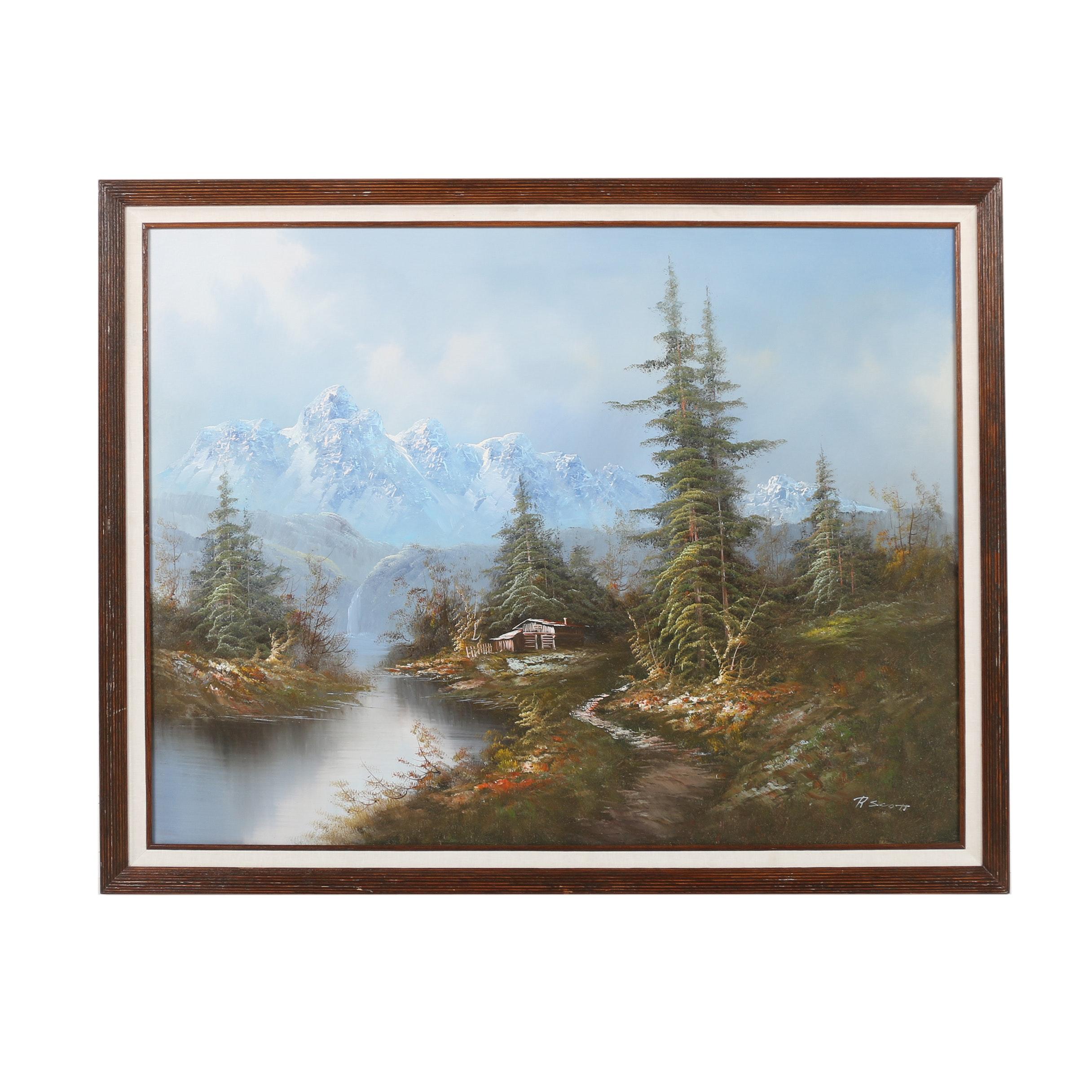 R. Scott Oil Painting of Idyllic Mountainscape