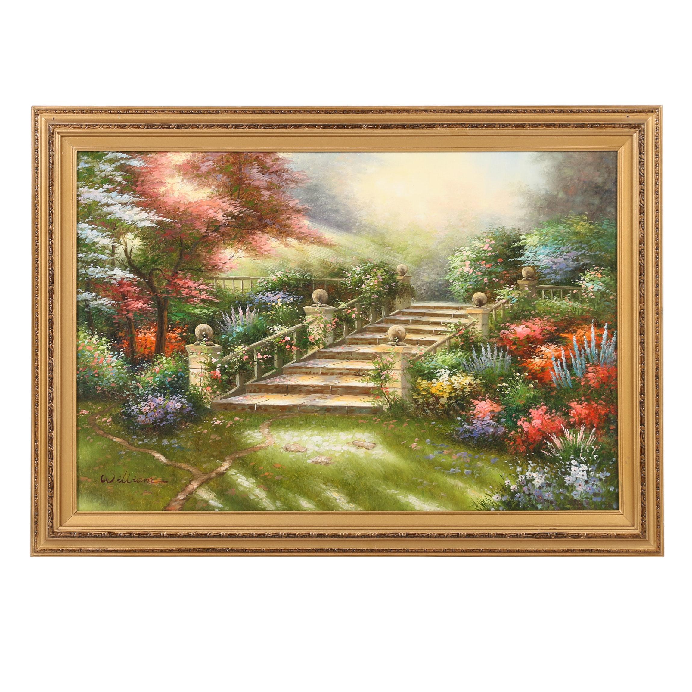 William Oil Painting of Idyllic Garden Scene