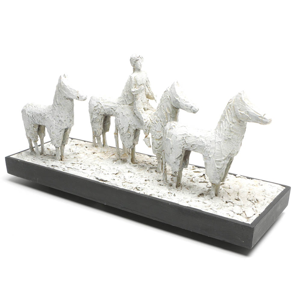 Mixed Media Sculpture of Figure and Four Horses