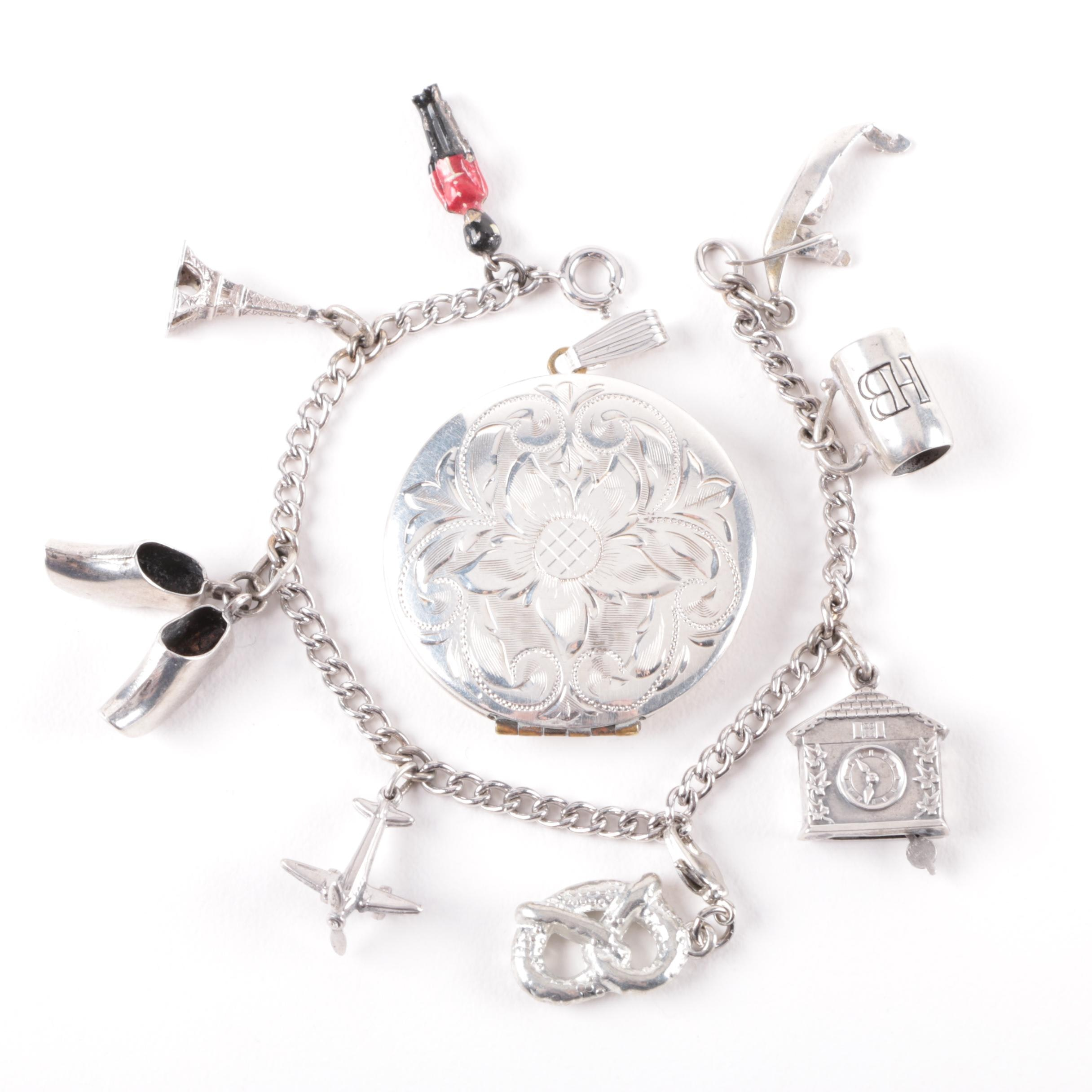 Sterling Silver Charm Bracelet and Monogrammed Locket