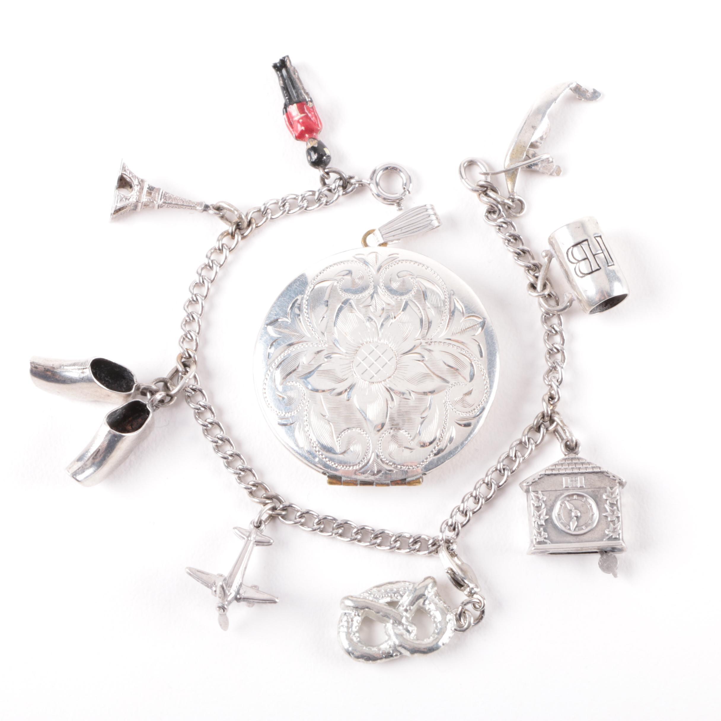 Sterling Silver Charm Bracelet and Monogrammed Locket
