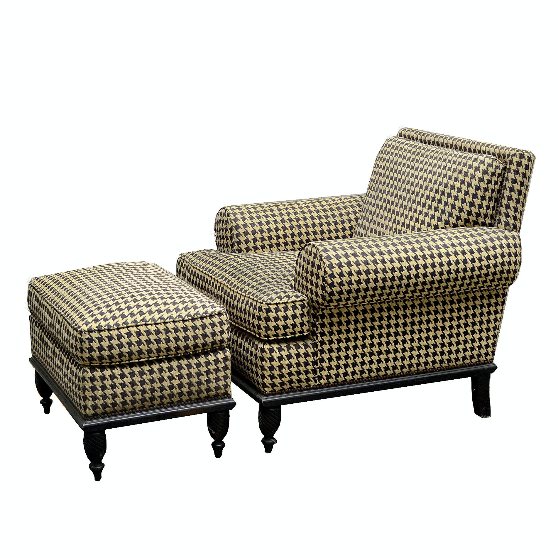 Duralee Fine Furniture Herringbone Upholstered Armchair and Ottoman