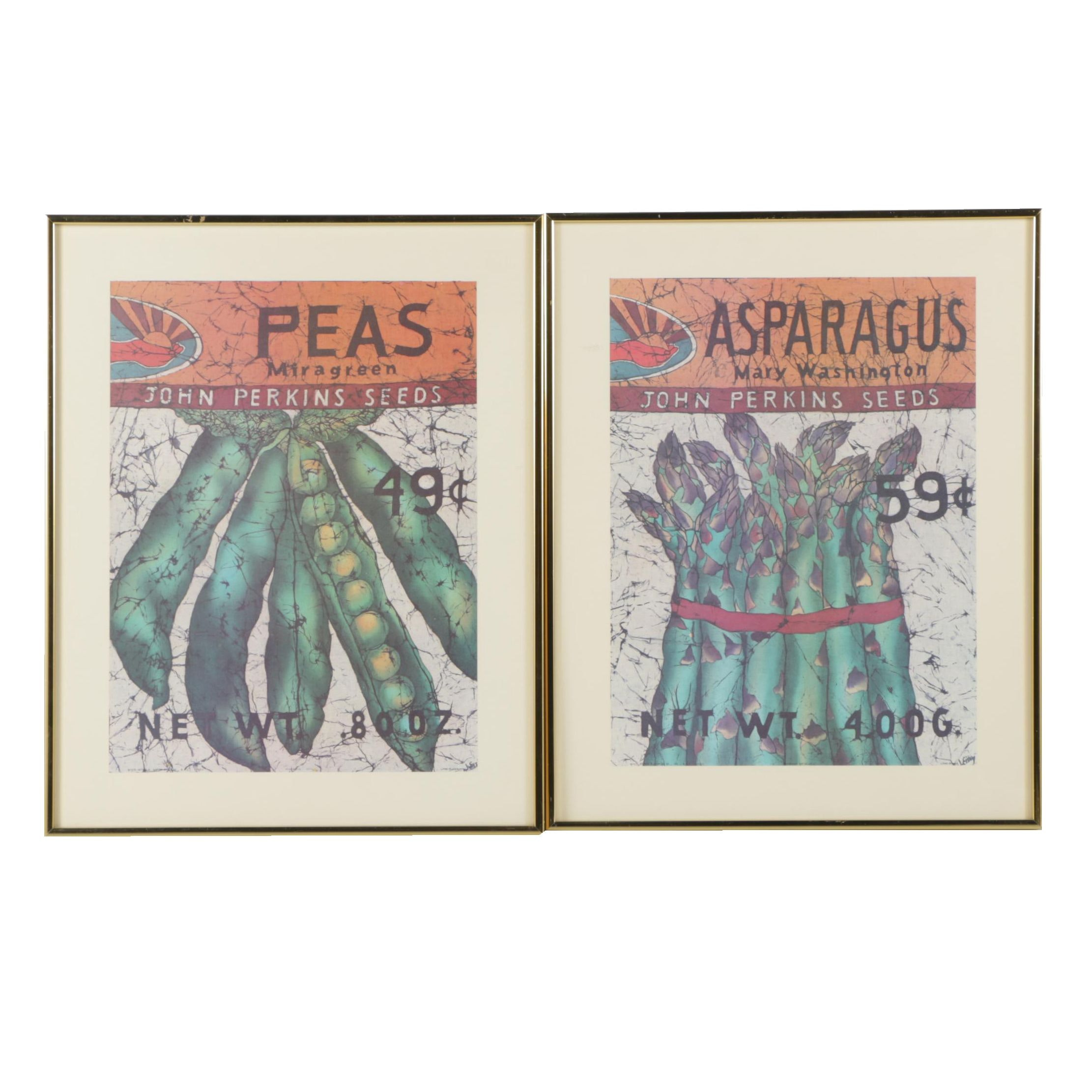"Offset Lithographs After Batiks ""Peas"" and ""Asparagus"""