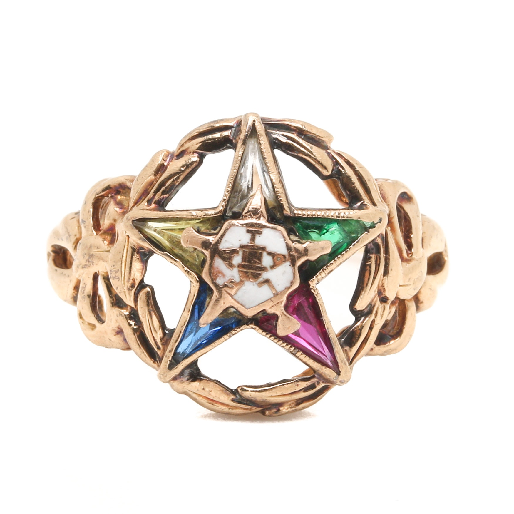14K Yellow Gold Gemstone and Enamel Eastern Star Ring