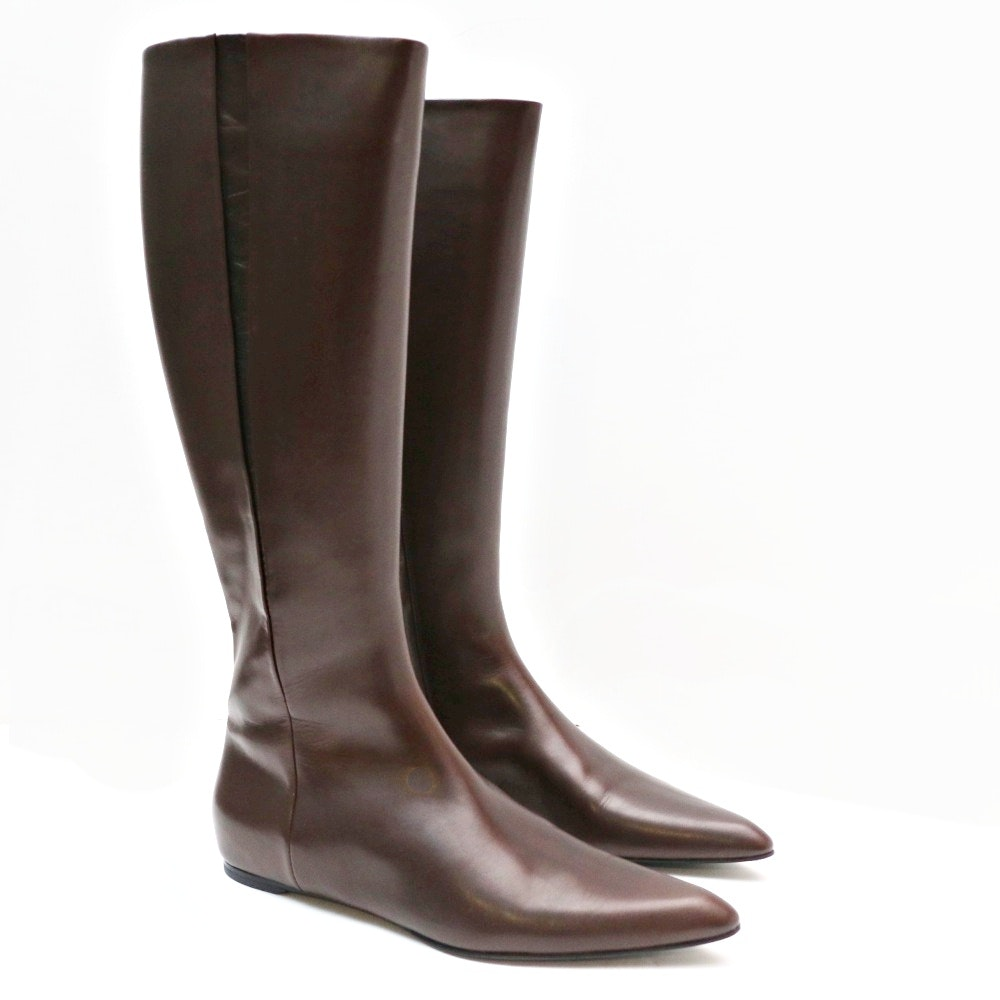New Jil Sander Brown Leather Knee Boots, Made  in Italy