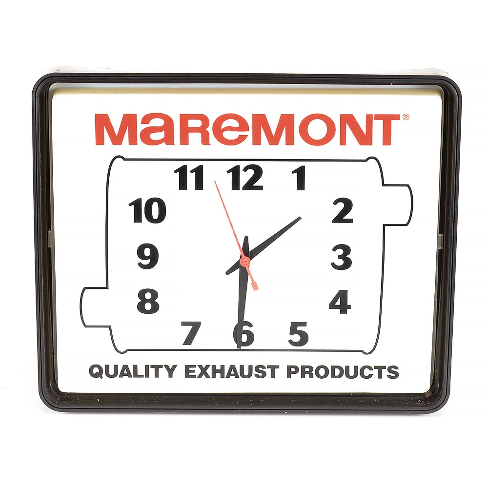"""1994 """"Maremont Exhaust Products"""" Light Up Wall Clock"""