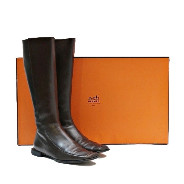 Ladies Hermes Brown Leather Boots
