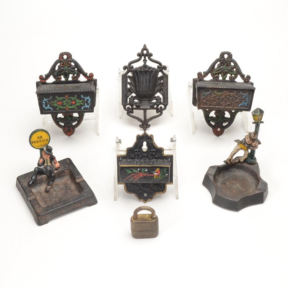Six Vintage Cast Iron Match Safes and Ashtrays
