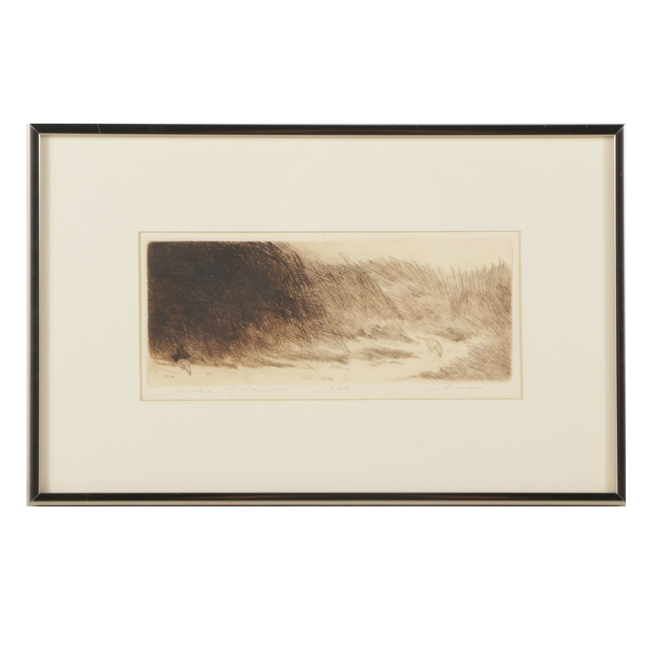 Limited Edition Etching of Grassy Landscape