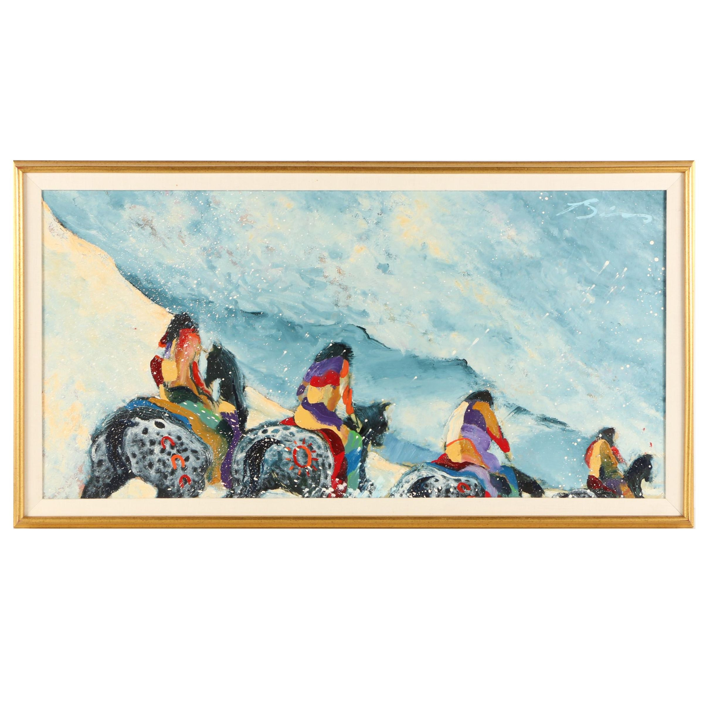 "Earl Biss Circa 1980s Oil Painting ""Winter Outing"""