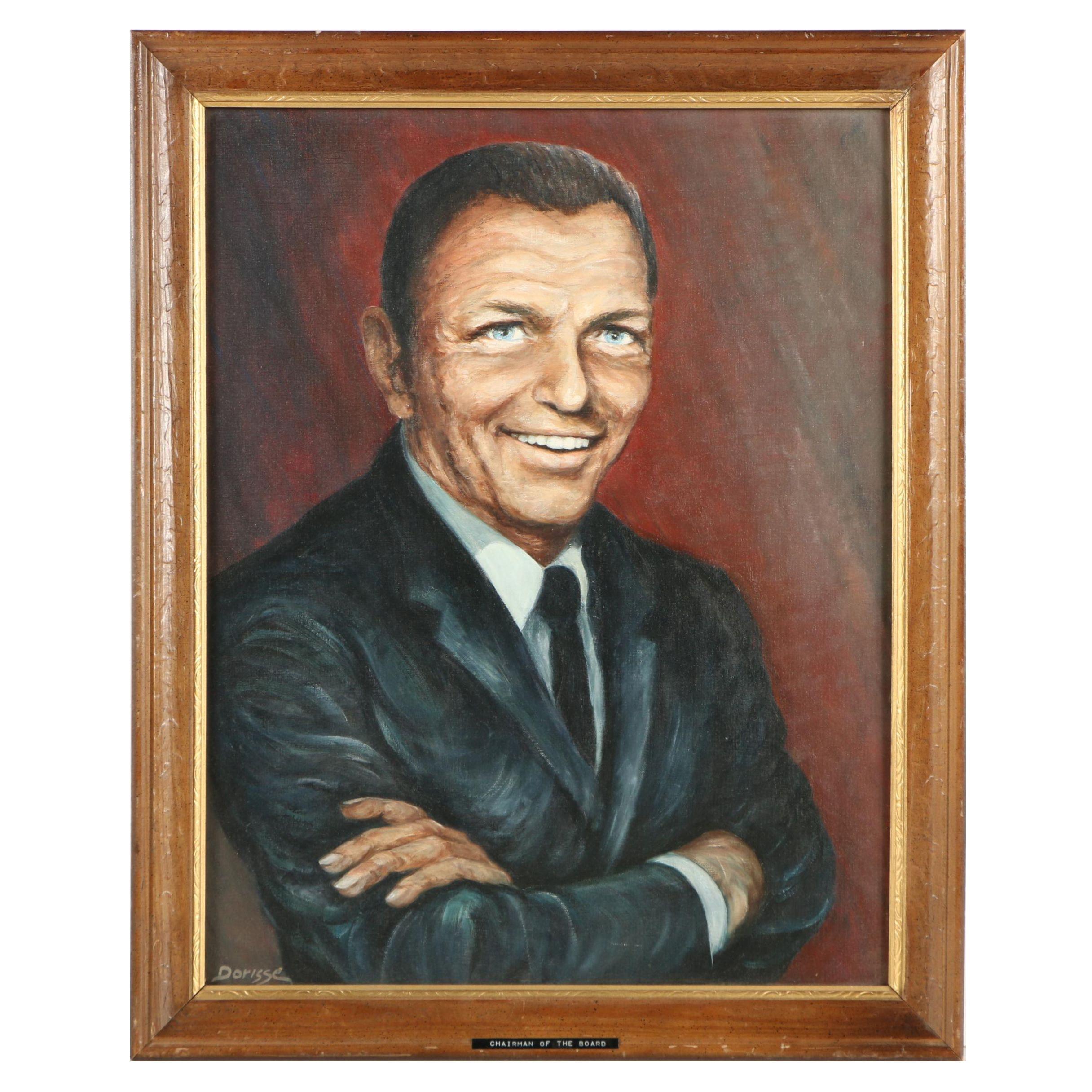 """Dorisse Circa 1970s Oil Portrait of Frank Sinatra """"Chairman of the Board"""""""