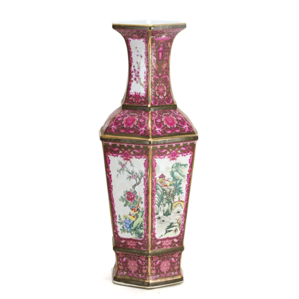 Chinese Hexagonal Ceramic Vase
