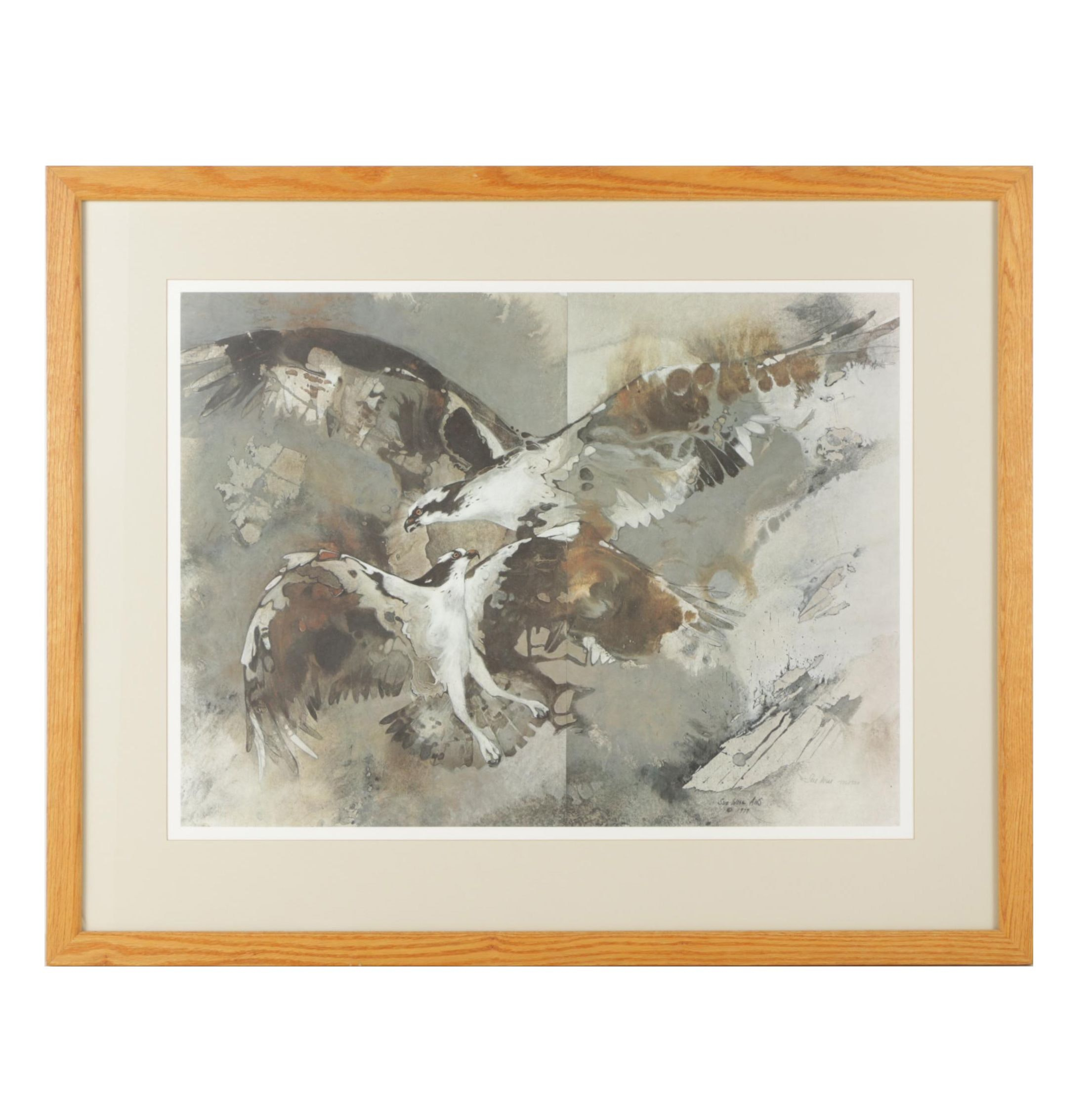 "Sue Wise 1980s Limited Edition Offset Lithograph ""Courtship"""