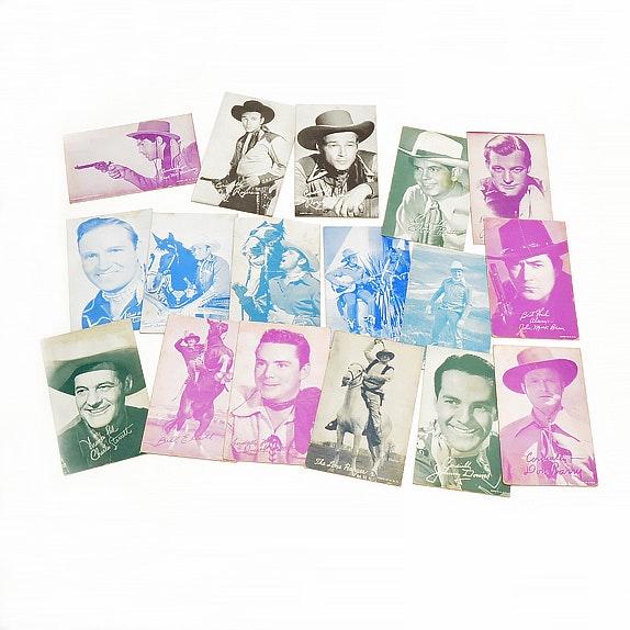 Seventeen 1950s Western Cowboys Exhibit Cards