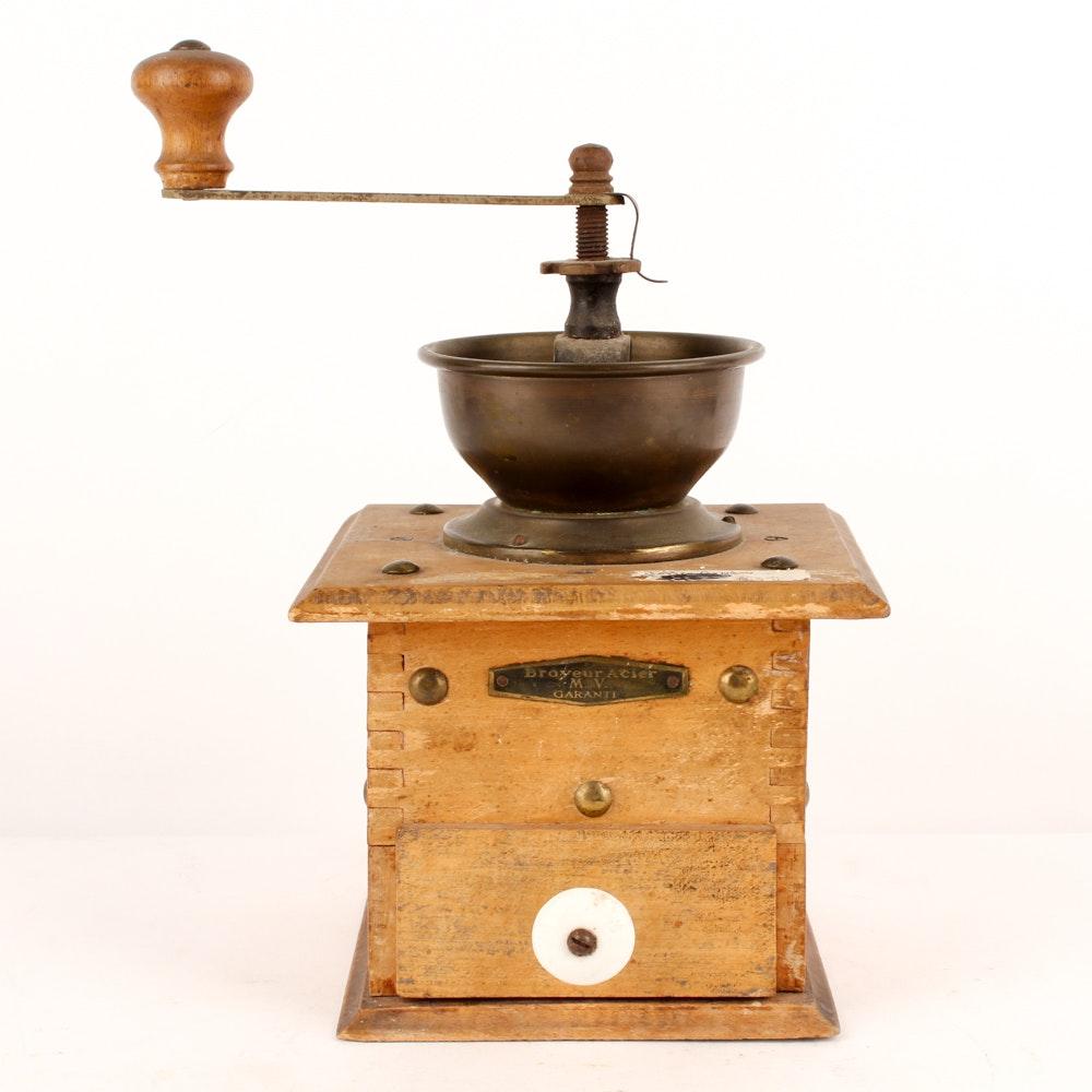 "Antique ""Broyeur Acier"" Coffee Grinder"