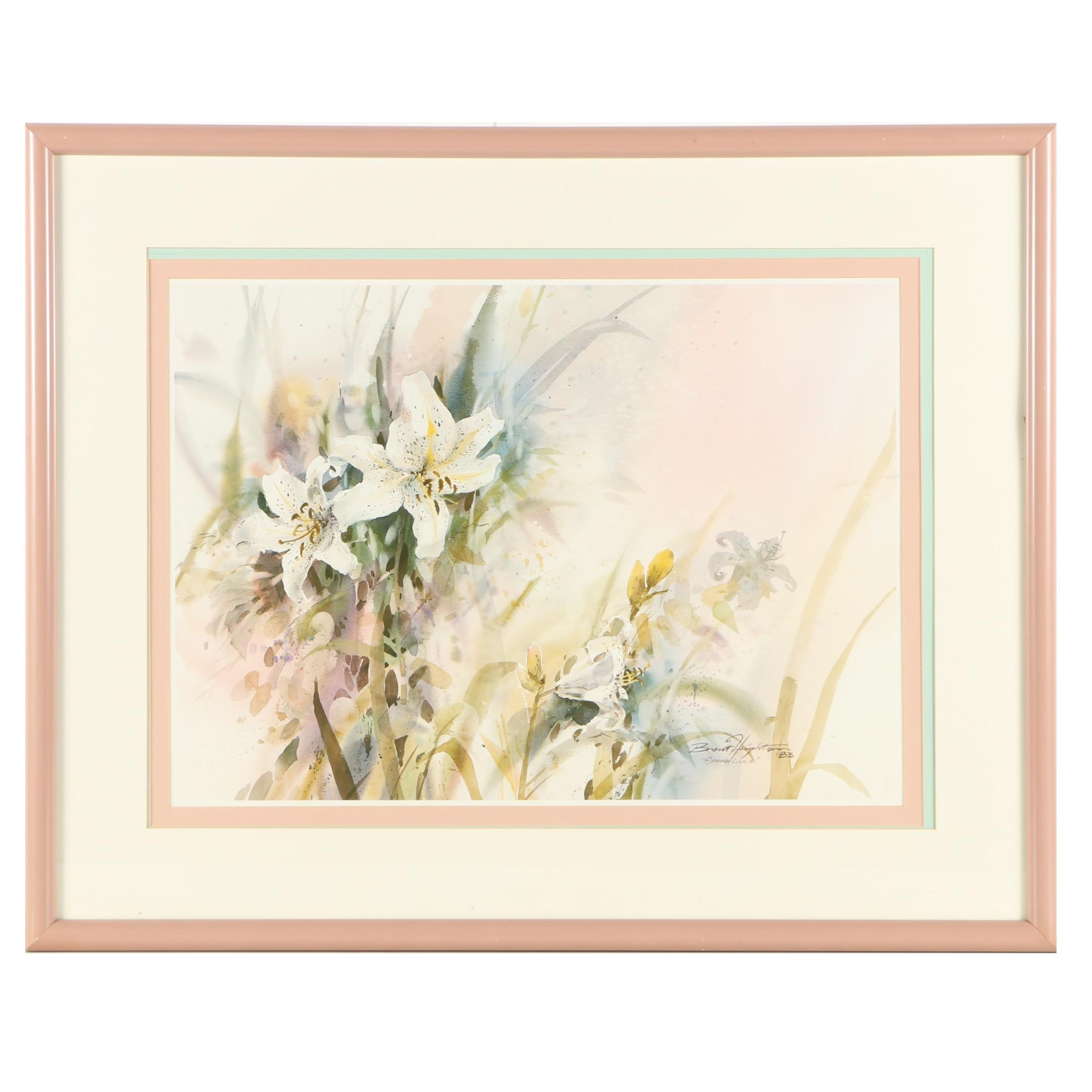 """1980s Offset Lithograph After Brent Heighton """"Spring Lilies"""""""