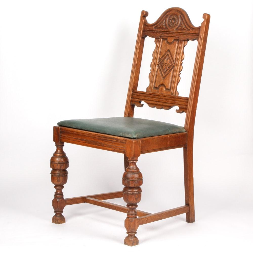 Antique Victorian Eastlake Oak Chair