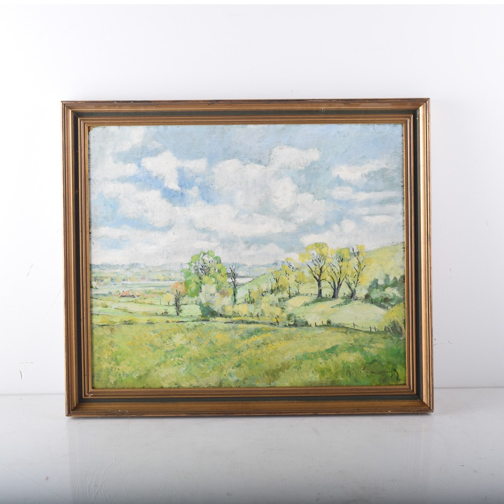 Oil Painting on Board of Landscape