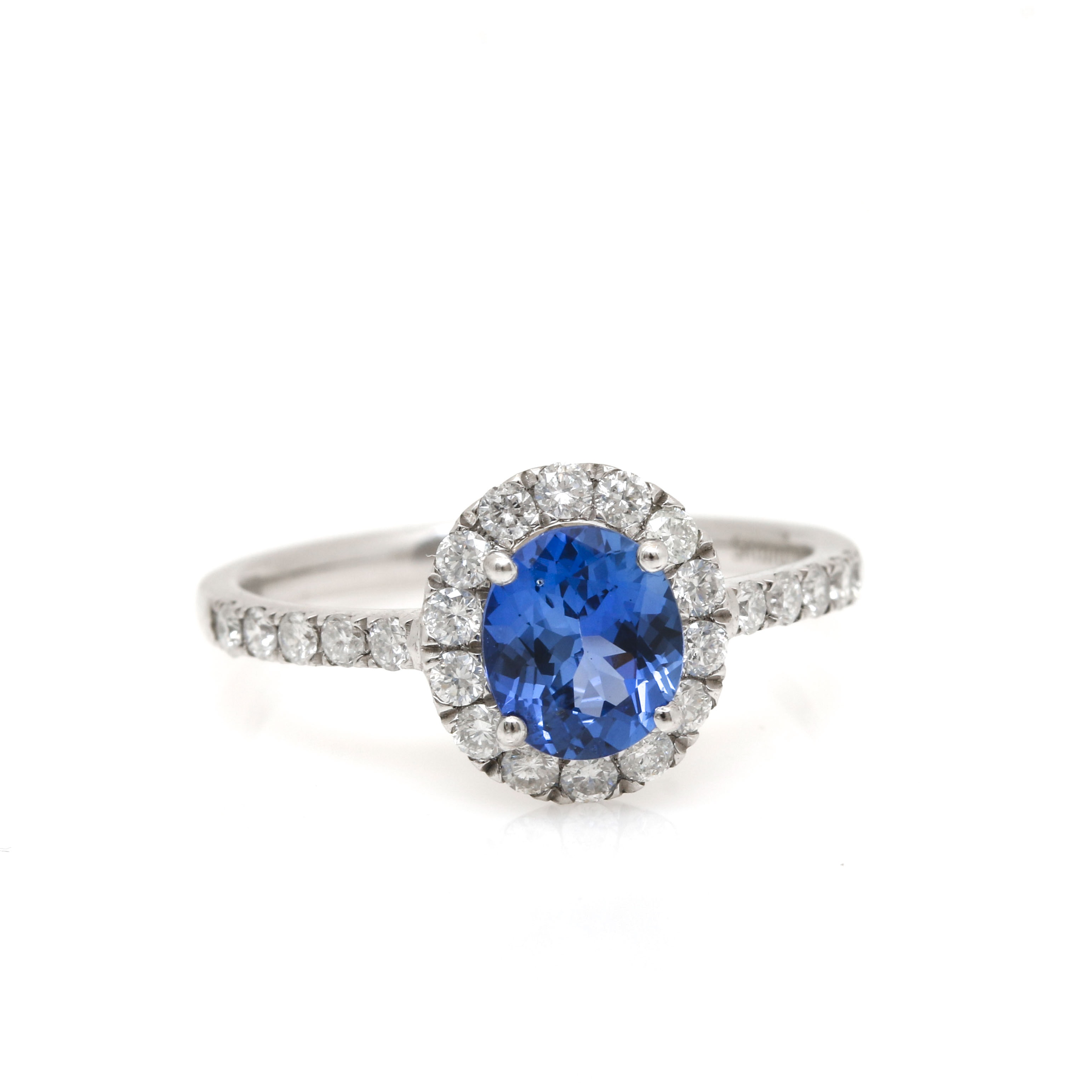 Platinum 1.07 CT Natural Sapphire and Diamond Ring With GIA Report