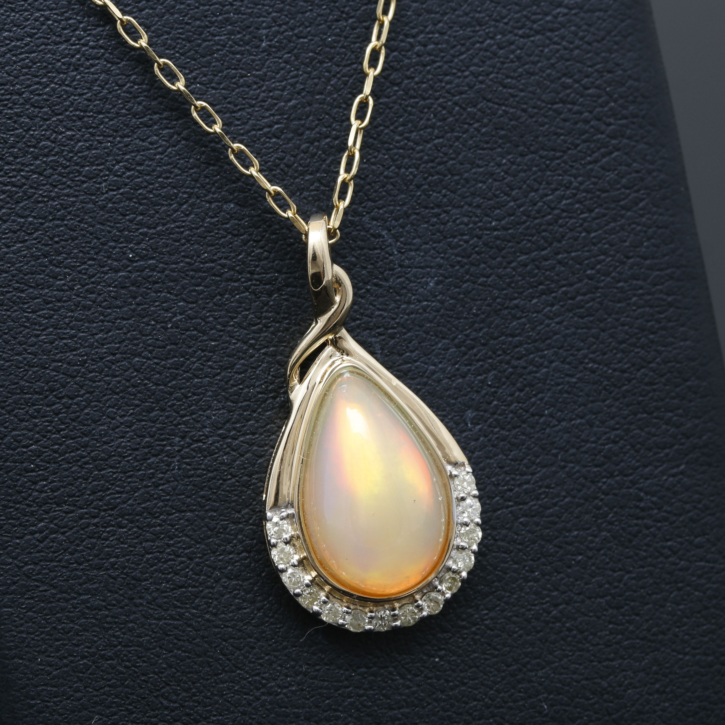 14K Yellow Gold Opal and Diamond Necklace