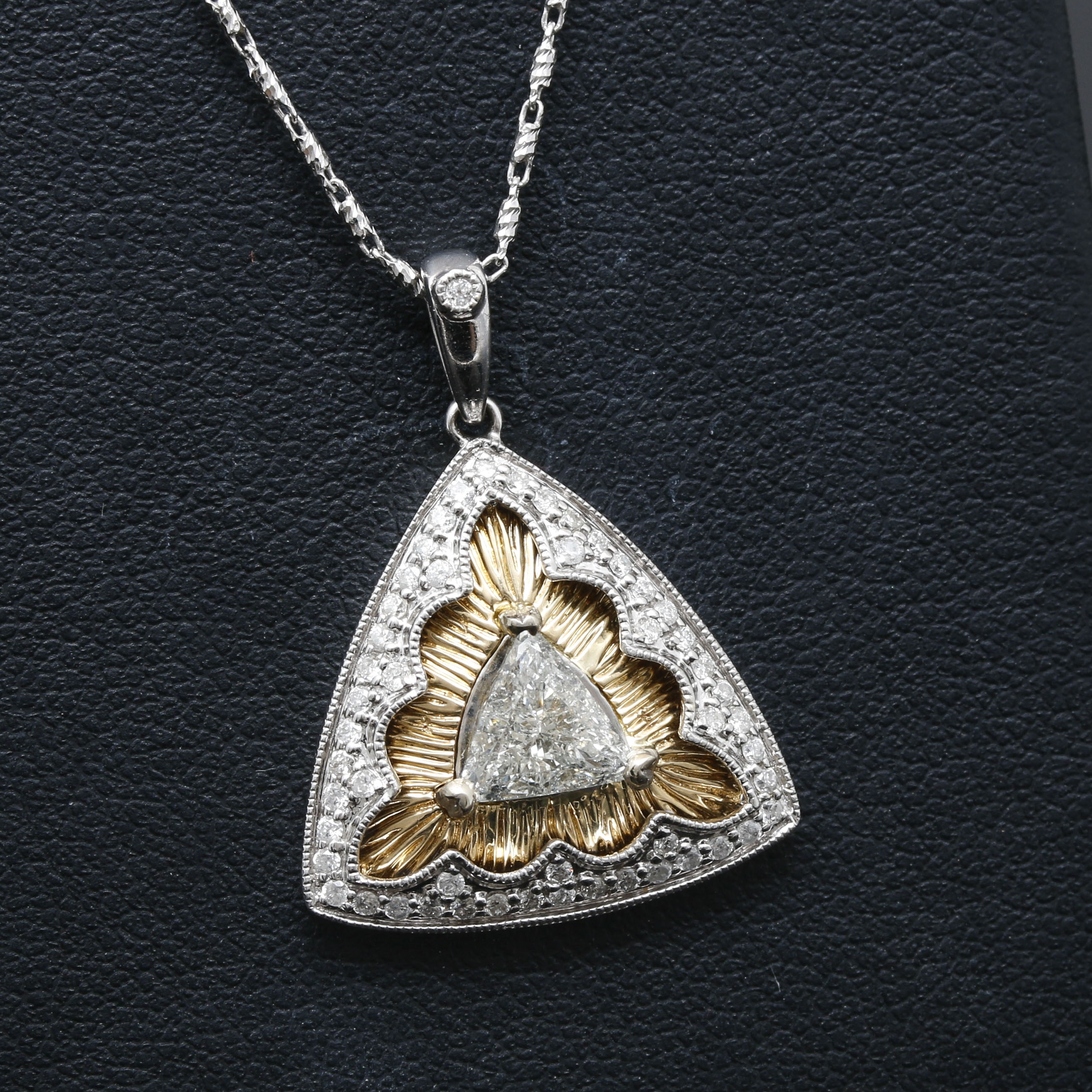 14K White Gold Diamond Pendant Necklace With Yellow Gold Accents