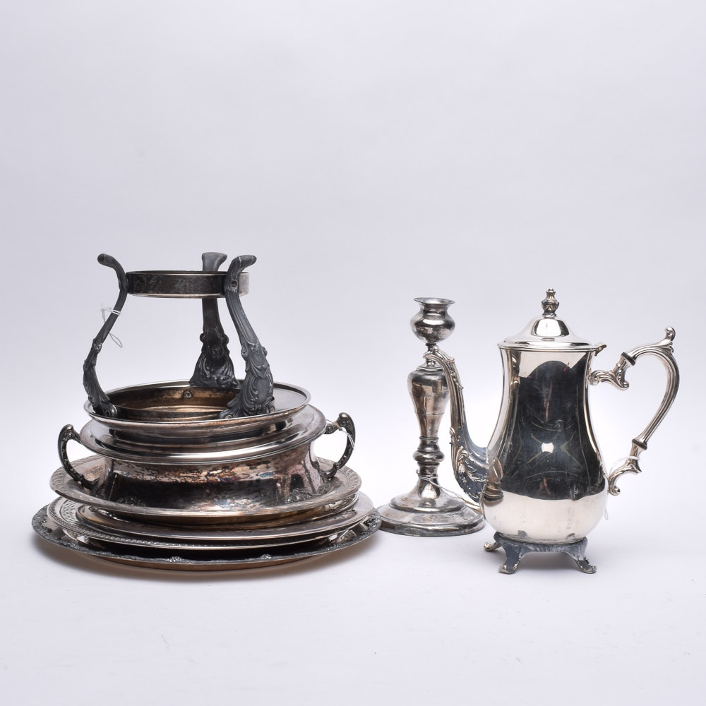 Rockford Silver Co. Silver Plate Candlestick and Silver Plate Serveware