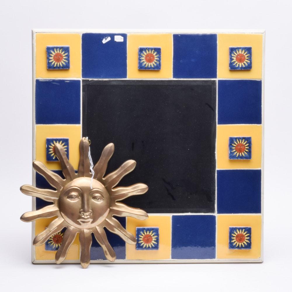 Tiled Wall Mirror and Brass Sun Decor