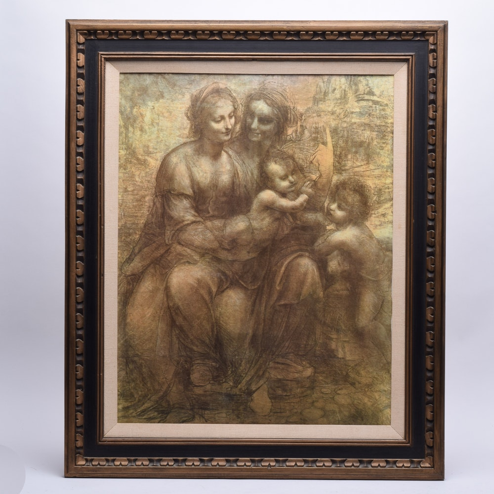 "Offset Lithograph After da Vinci ""The Virgin and Child with St Anne and St John"""
