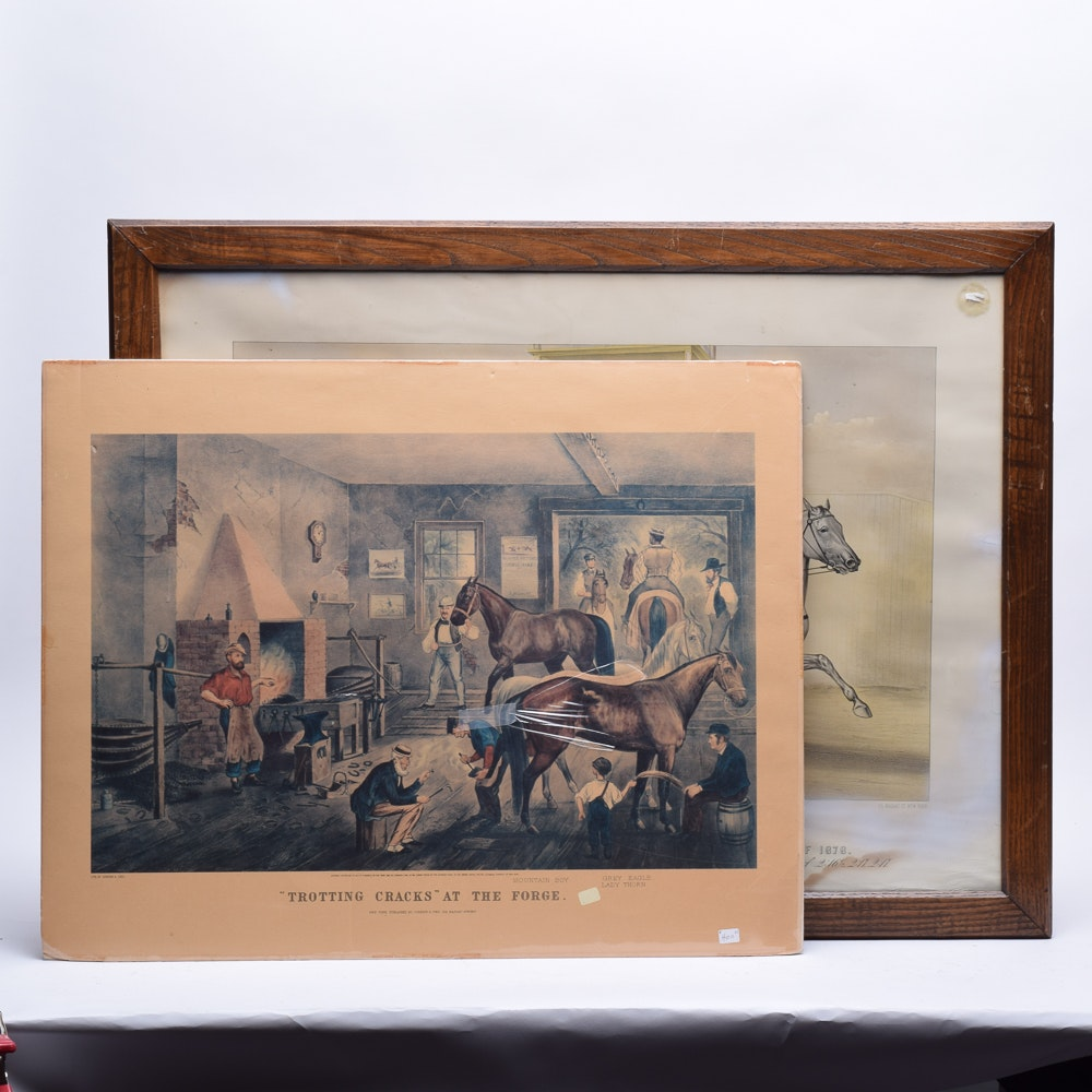 Offset Lithographs After Horse-Themed Currier & Ives Prints