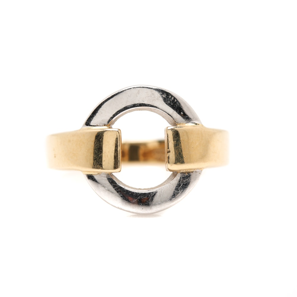 Italian 14K Yellow Gold Ring With White Gold Accent
