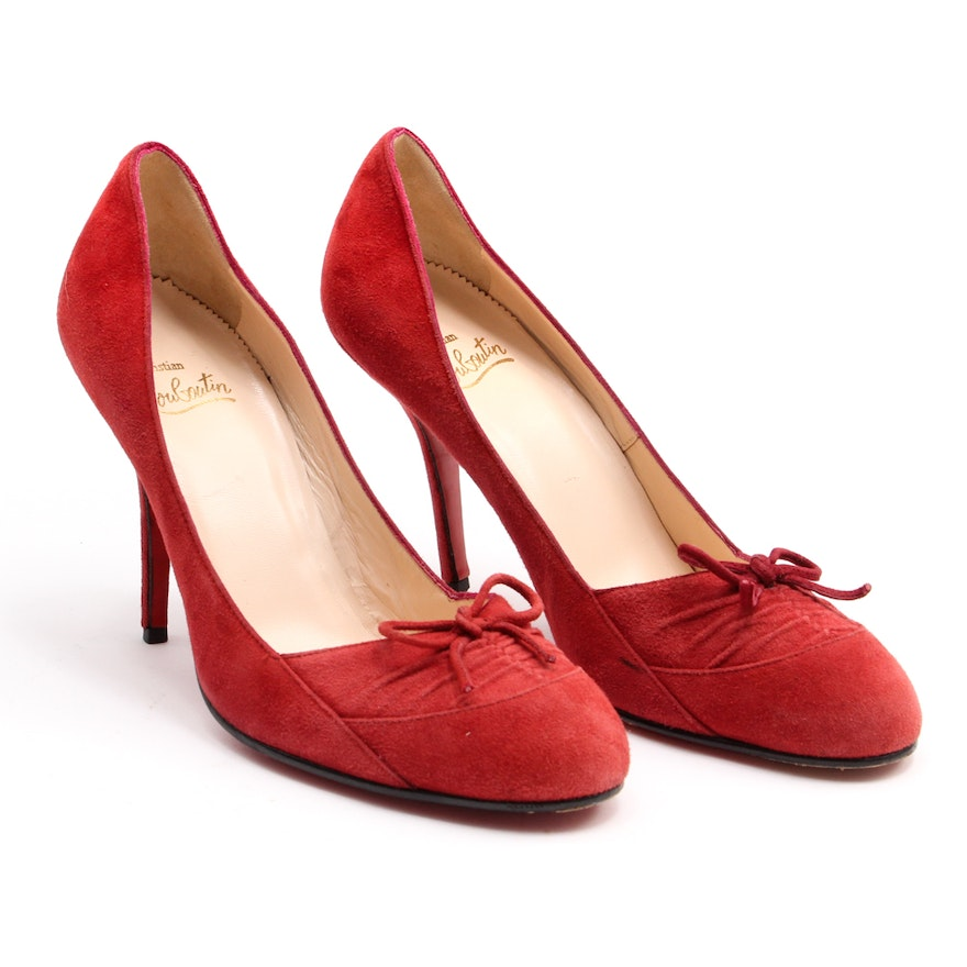premium selection 72201 5f144 Christian Louboutin Red Suede Pumps