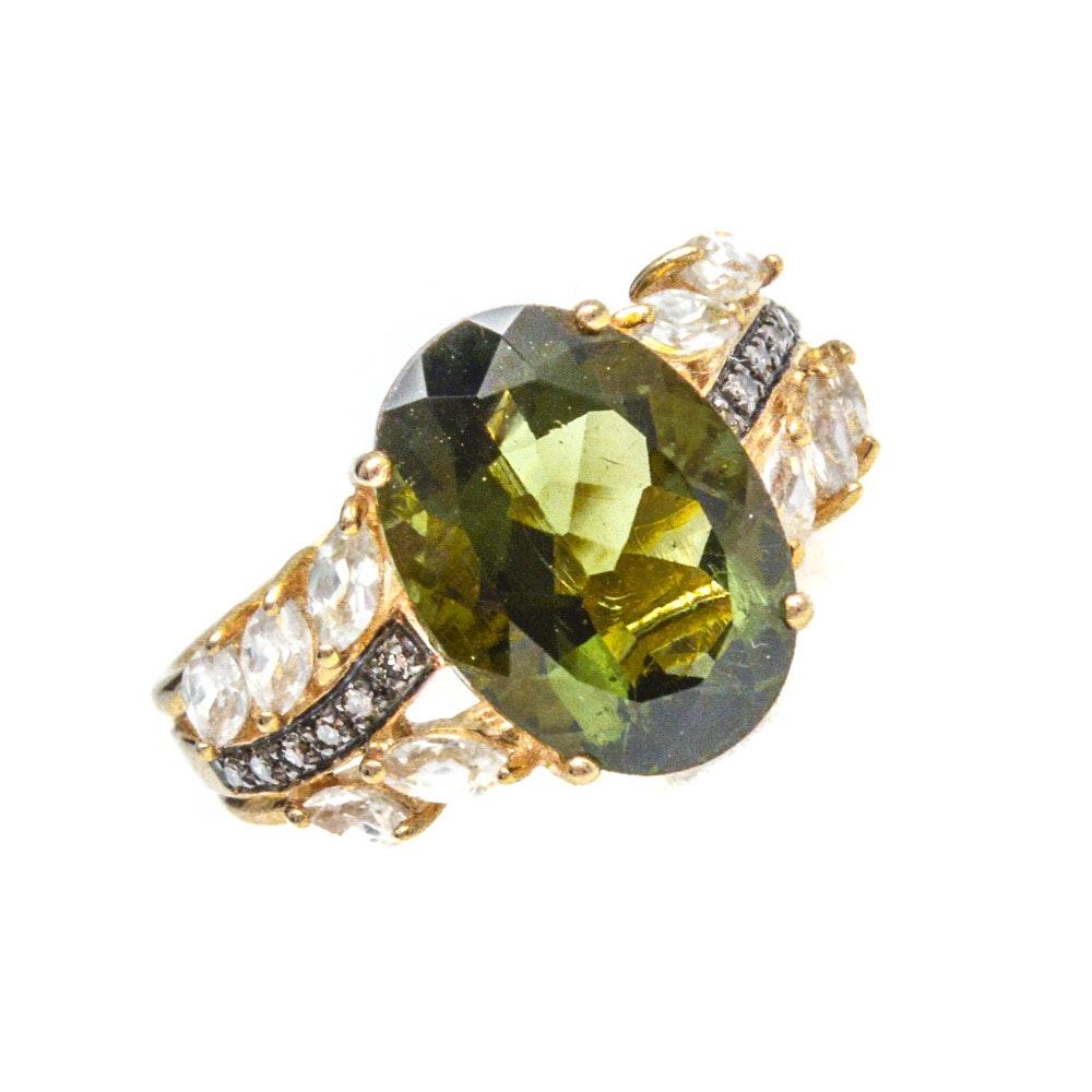 10K Yellow Gold Moldavite, White Topaz, and Diamond Ring