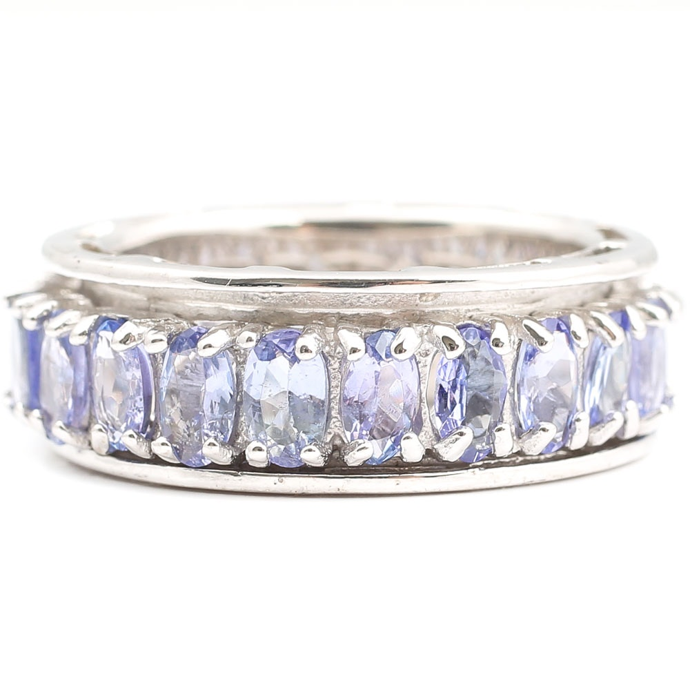Sterling Silver 5.28 CTW Tanzanite Eternity Ring
