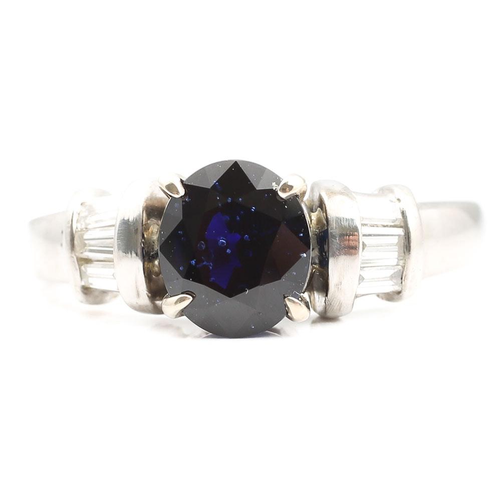Platinum 2.03 CT Sapphire and Diamond Ring