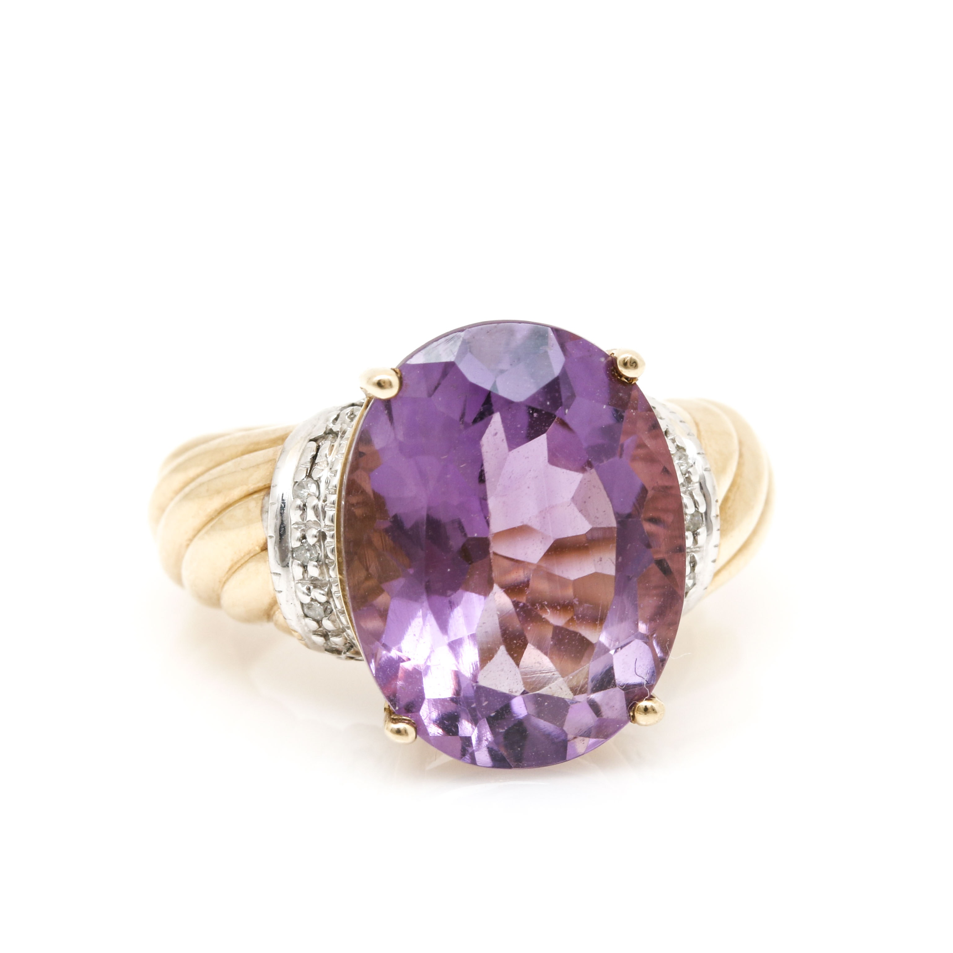 10K Yellow Gold 7.48 CT Amethyst and Diamond Ring