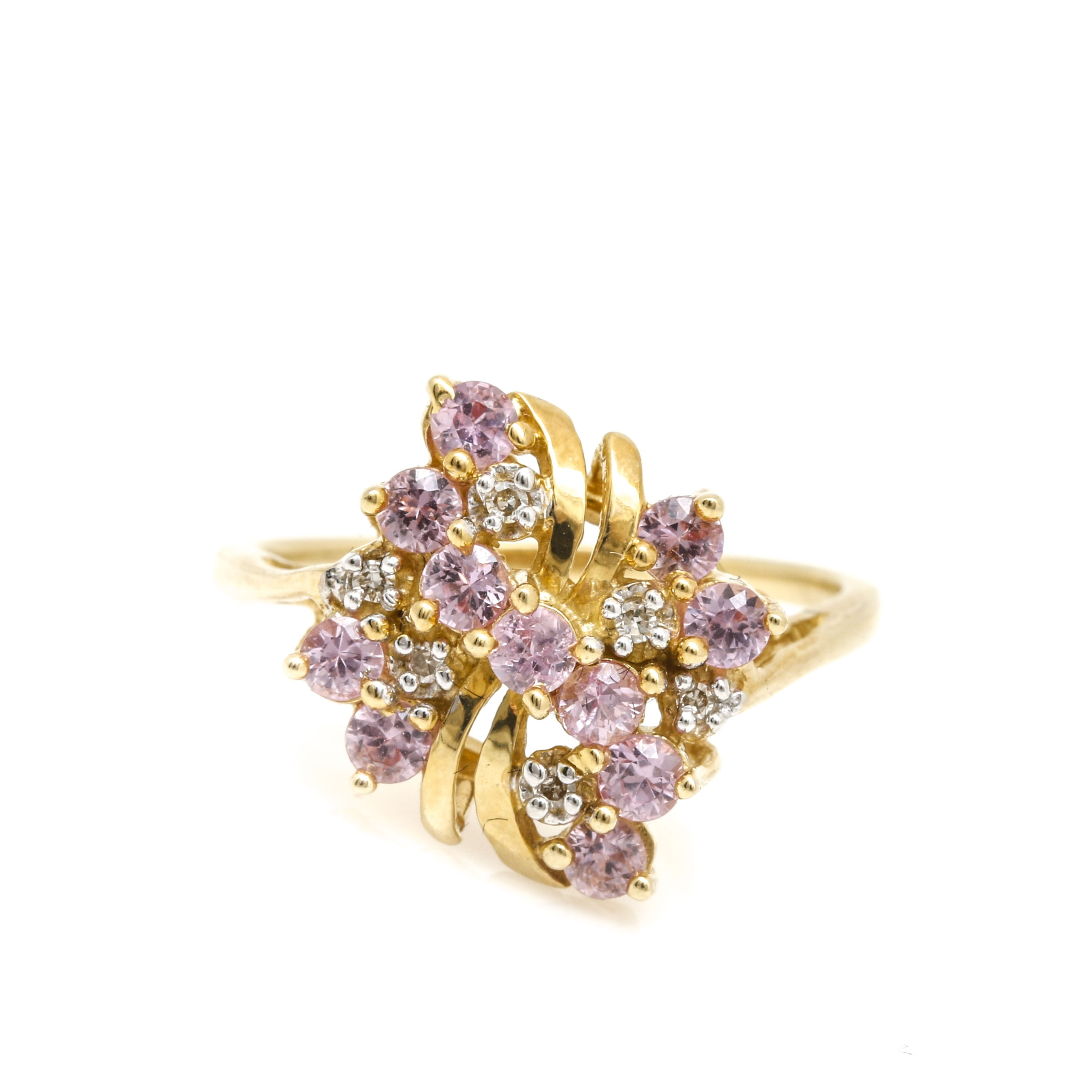 14K Yellow Gold Pink Sapphire and Diamond Cluster Ring