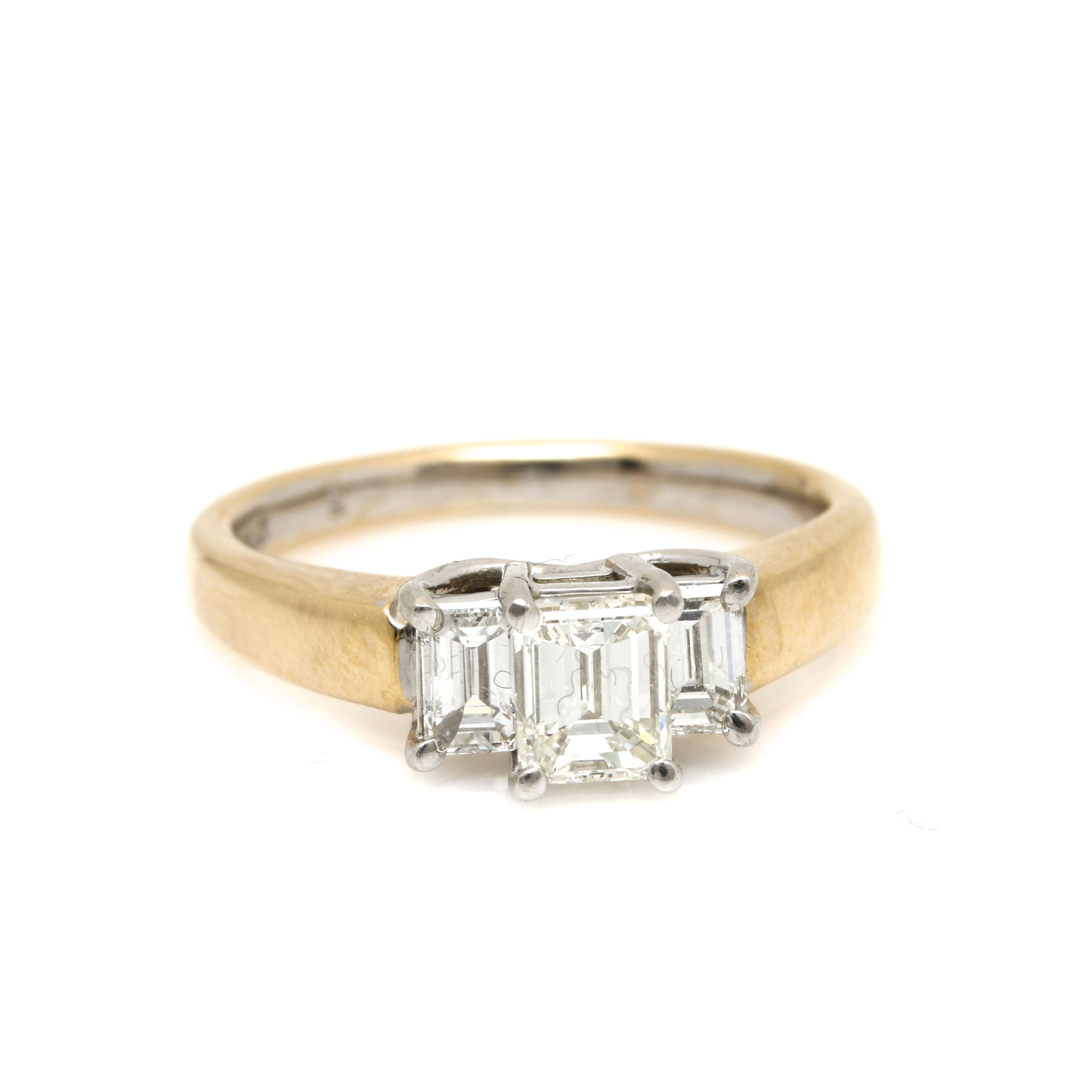 14K Yellow Gold and Platinum 0.96 CTW Diamond Ring