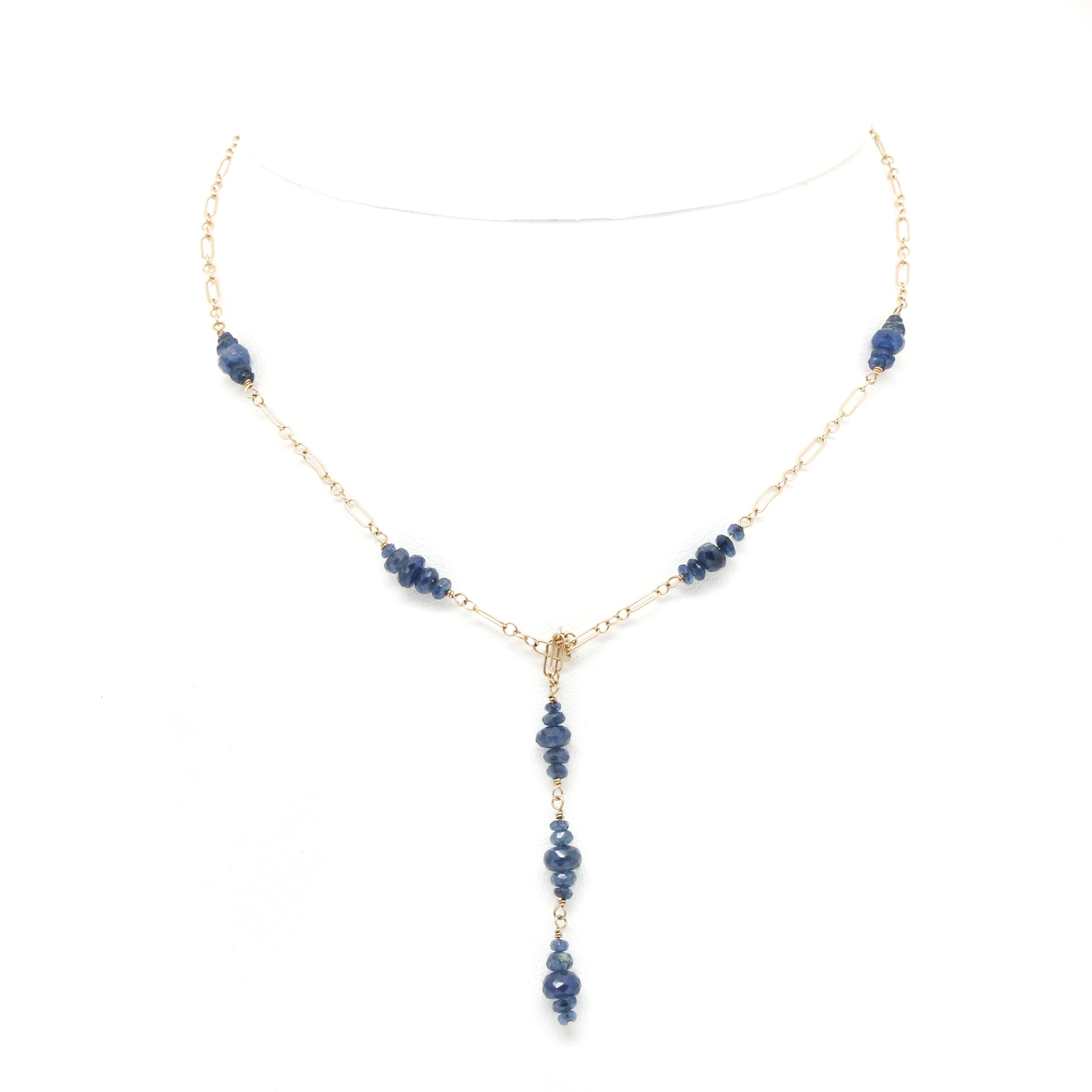 14K Yellow Gold Blue Sapphire Necklace