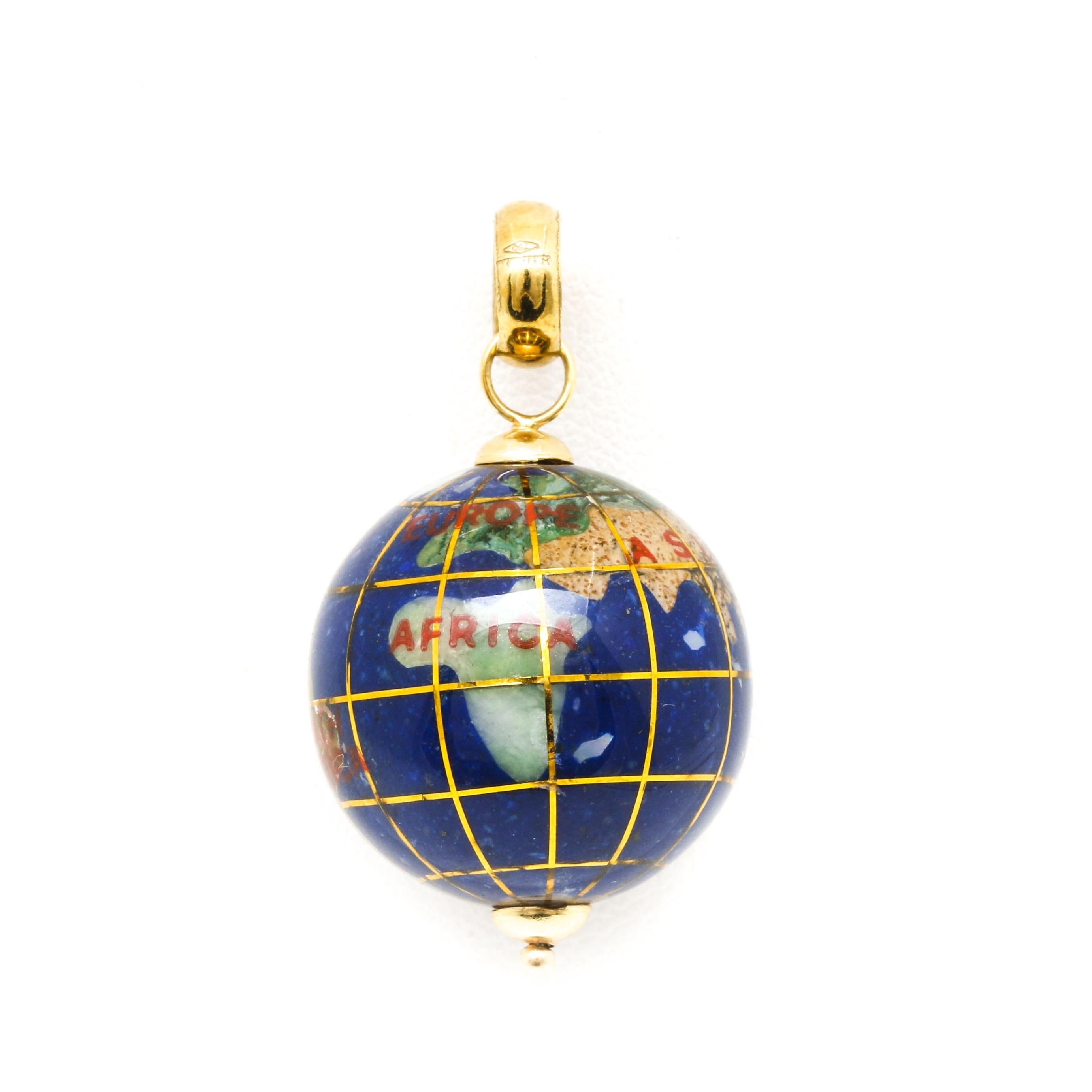 18K Yellow Gold Globe Charm With Stone Inlay Including Abalone