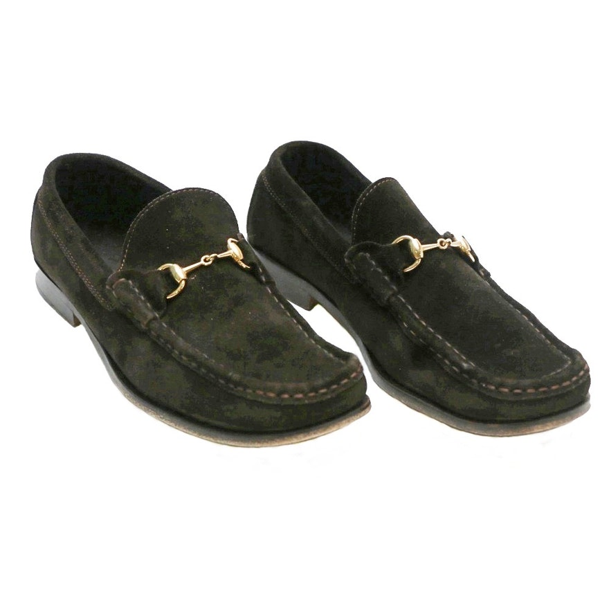 13e252e921b Womens Gucci Brown Suede Loafers with Gold Tone Hardware   EBTH