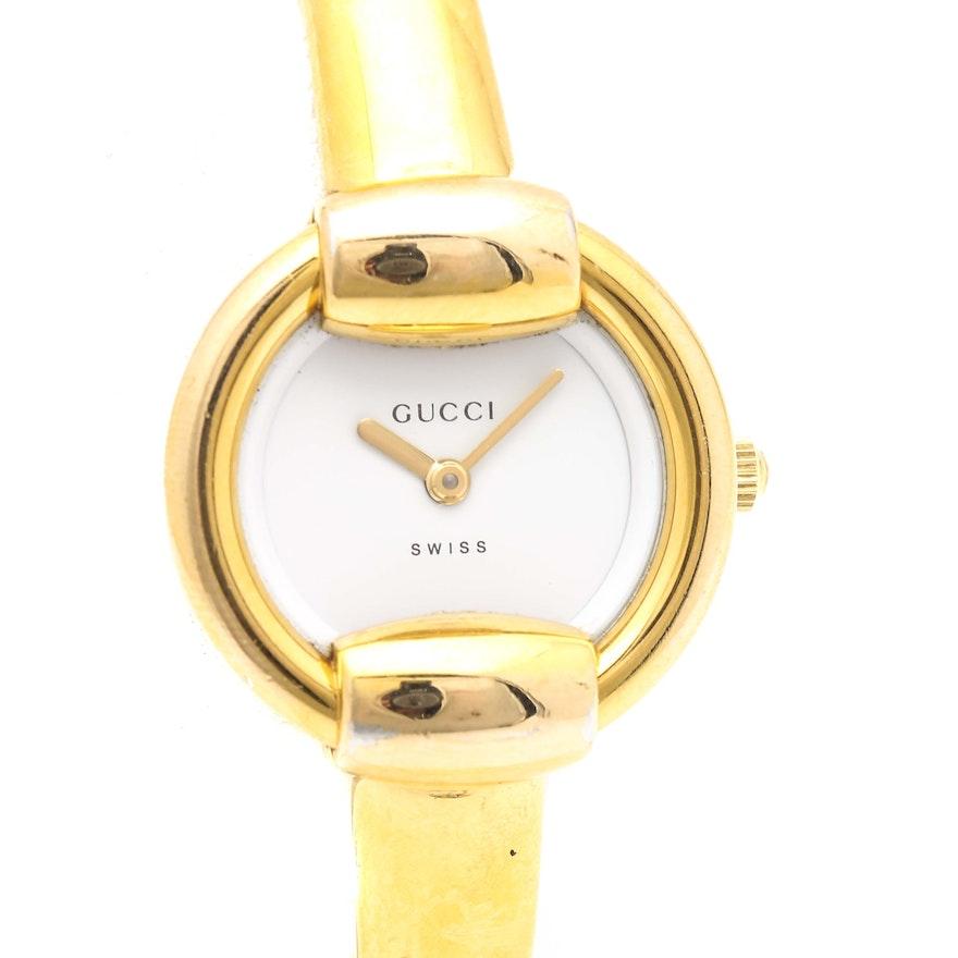 6a130e8d579 Gold Tone Gucci Bangle Wristwatch   EBTH