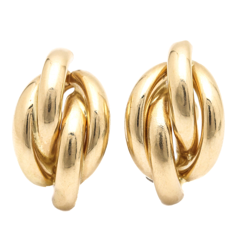 14K Yellow Gold Half Hoop Earrings