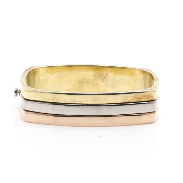 14K Tri-Color Gold Hinged Bangle Bracelet