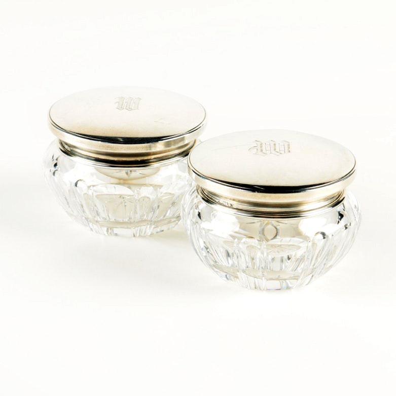 La Pierre Mfg. Co. Crystal Vanity Jars with Engraved Sterling Silver Lids