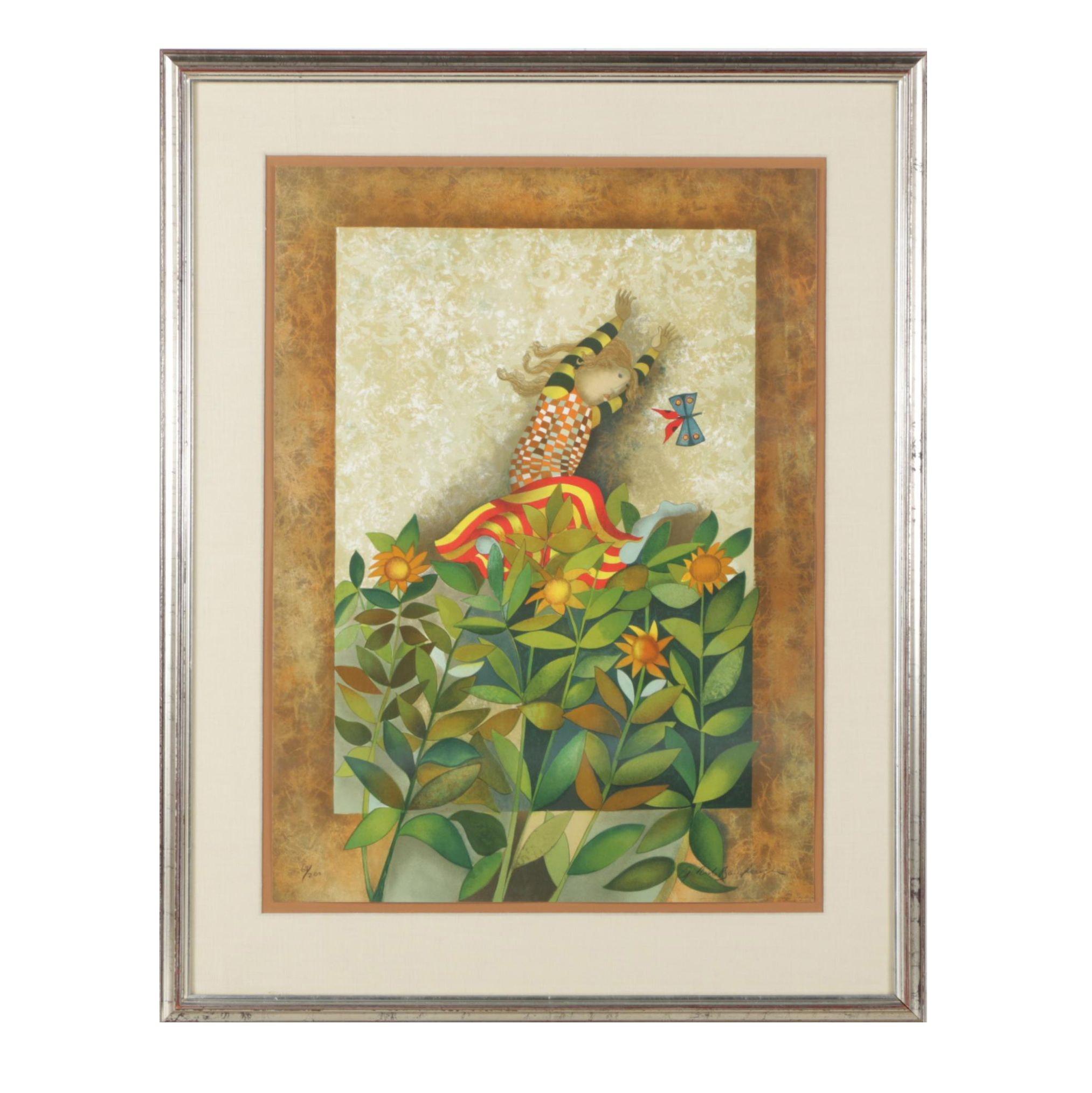"""Graciela Rodo Boulanger Color Lithograph """"Un Papillion Pour Anika"""""""